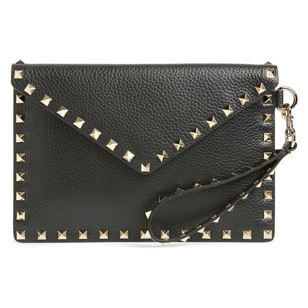ヴァレンティノ ガラヴァーニ レディース クラッチバッグ バッグ VALENTINO GARAVANI Medium Rockstud Leather Envelope Pouch Black