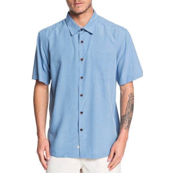 クイックシルバー メンズ シャツ トップス Quiksilver Waterman Collection Cane Island Regular Fit Camp Shirt Parisian Blue Cane Island