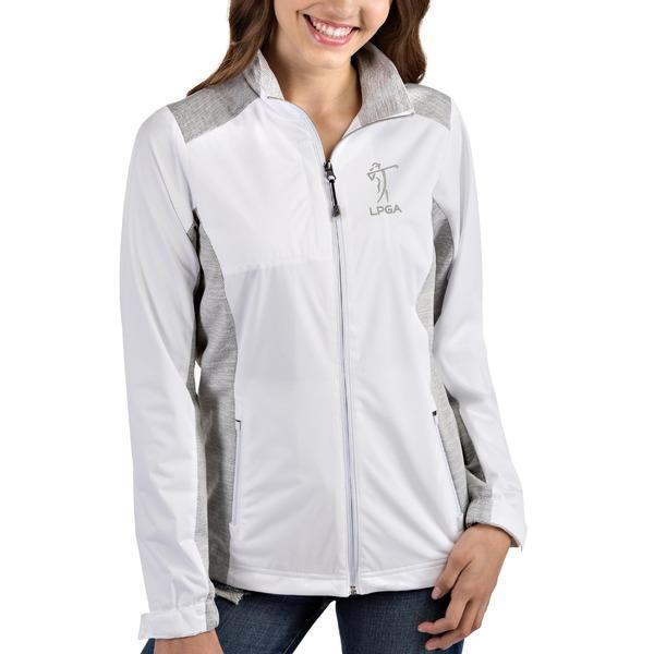 アンティグア レディース ジャケット&ブルゾン アウター LPGA Antigua Women's Revolve FullZip Jacket White/Heather Gray