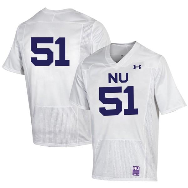 アンダーアーマー メンズ ユニフォーム トップス #51 Northwestern Wildcats Under Armour College Football 150th Anniversary Replica Jersey White