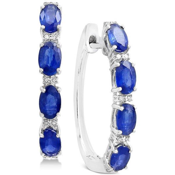 【返品?交換対象商品】 エフィー コレクション レディース ピアス&イヤリング アクセサリー EFFY® Sapphire (2-1/2 ct. t.w.) & Diamond Accent Hoop Earrings in 14k White Gold Sapphire, エムカエチョウ cbe678ca