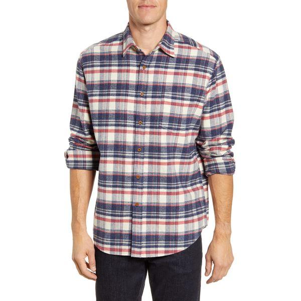 レイルズ メンズ シャツ トップス Regular Fit Forrest Plaid Button-Up Flannel Shirt Heather Blue/ Cream/ Red