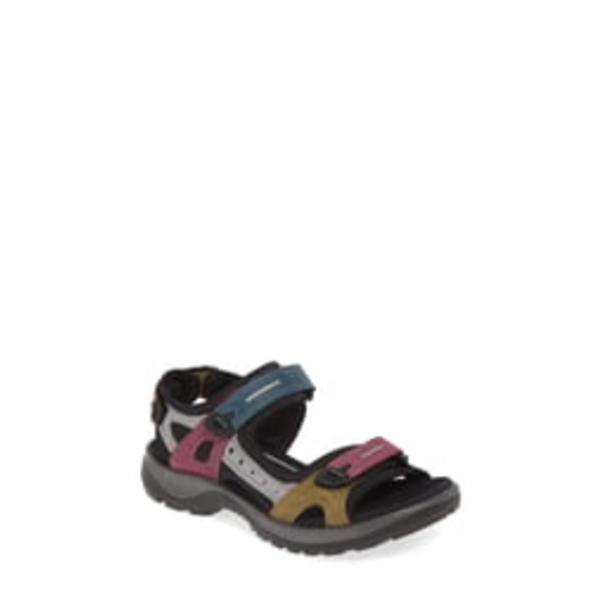 エコー レディース サンダル シューズ Offroad Sandal Petrol/ Aubergine Leather