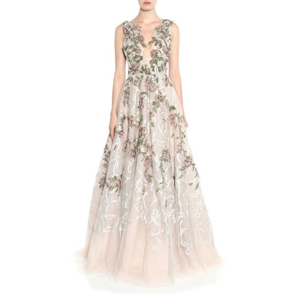 マルケッサ レディース ワンピース トップス Floral Sequin Silk Tulle Gown Blush