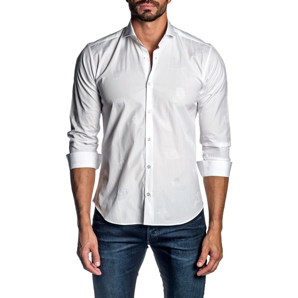 ヤレドラング メンズ シャツ トップス Regular Fit Button-Up Shirt White Jacquard