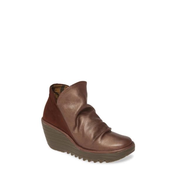フライロンドン レディース ブーツ&レインブーツ シューズ Yip Wedge Bootie Dark Brown Leather