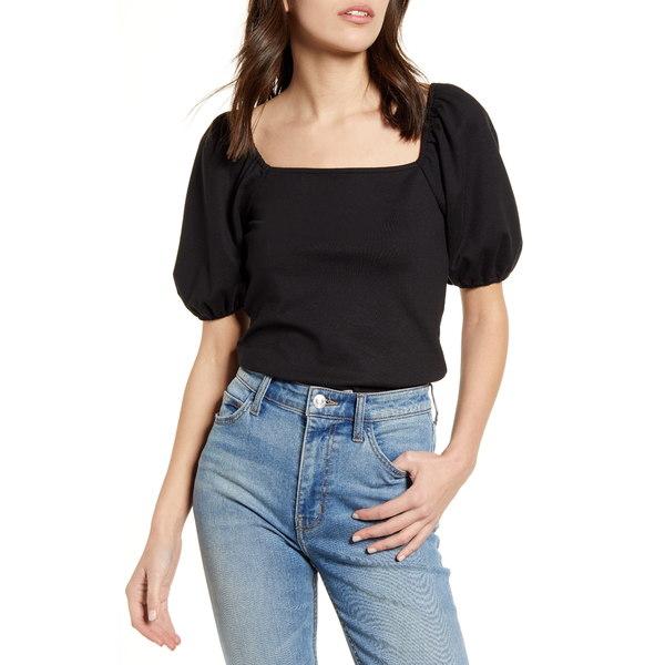 チェルシー28 レディース Tシャツ トップス Puff Sleeve T-Shirt Black