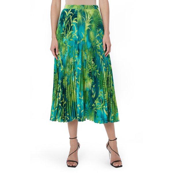 ヴェルサーチ レディース スカート ボトムス Jungle Print Pleated Midi Skirt Green And Print