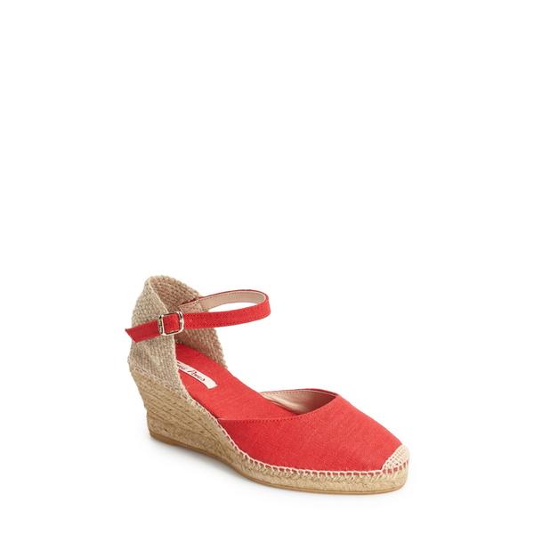 トニーポンズ レディース サンダル シューズ 'Caldes' Linen Wedge Sandal Red