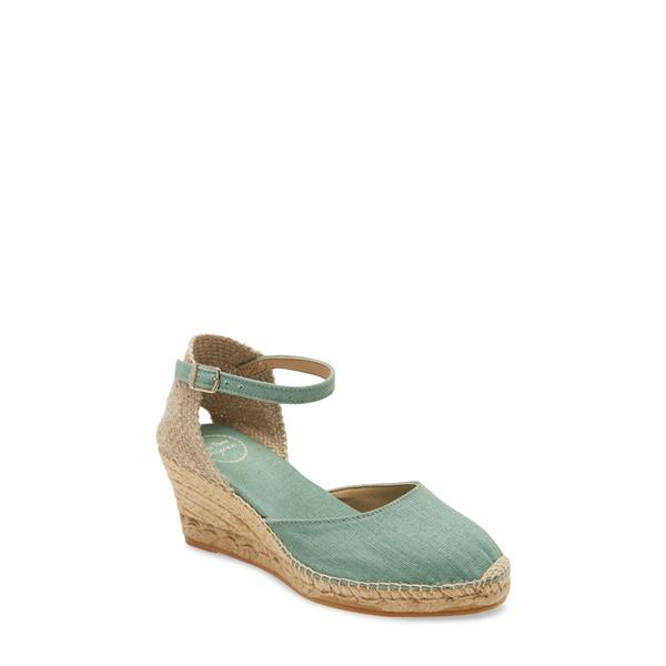 トニーポンズ レディース サンダル シューズ 'Caldes' Linen Wedge Sandal Mint Fabric