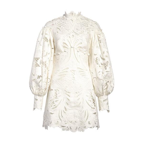 ジマーマン レディース ワンピース トップス Wavelength Ikat Broderie Anglaise Long Sleeve Minidress Ivory
