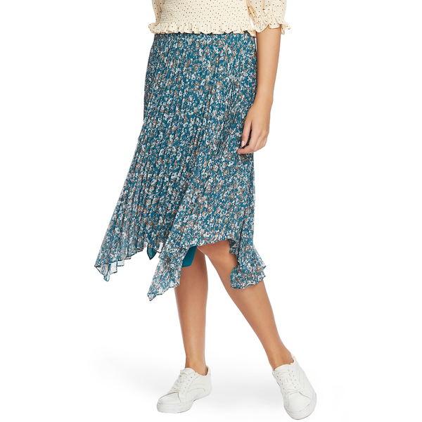 ワンステイト レディース スカート ボトムス Woodland Floral Print Handkerchief Hem Skirt Verdi Emerald Multi