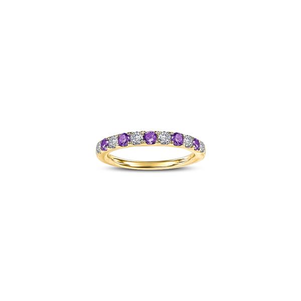 ラフォン レディース リング アクセサリー Simulated Diamond Birthstone Band Ring February - Purple/ Gold