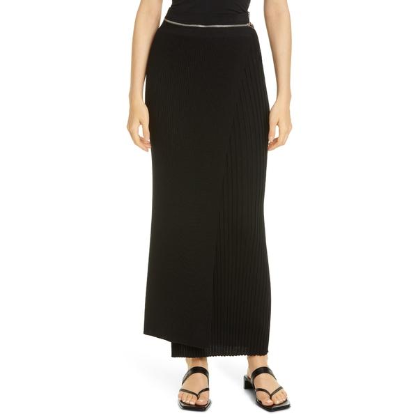 ヘルムート ラング レディース スカート ボトムス Convertible Layered Rib Wool Maxi Skirt Black