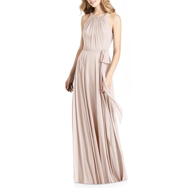 ジェニー・パッカム レディース ワンピース トップス Crystal Strap Chiffon A-Line Gown Blush