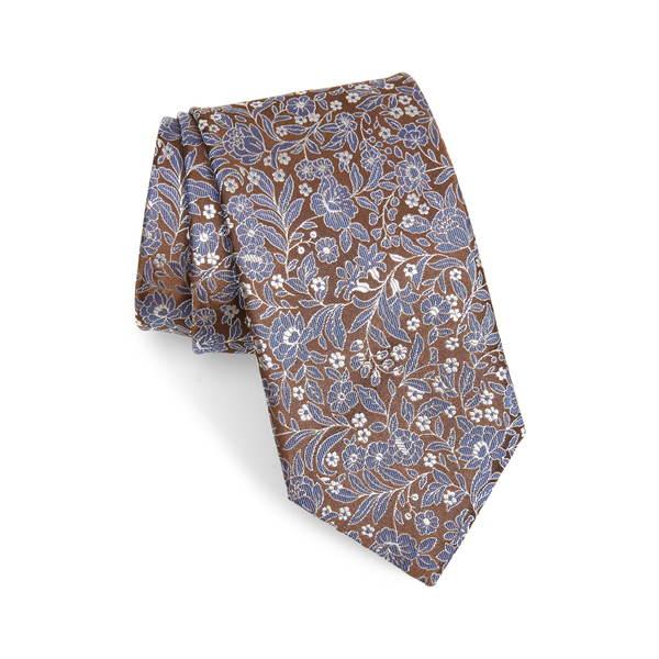 カナーリ メンズ ネクタイ アクセサリー Floral Silk Tie Brown