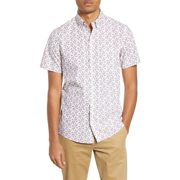 ワンナインオーワン メンズ シャツ トップス Slim Fit Fish Print Short Sleeve Button-Down Shirt White Pink Koi