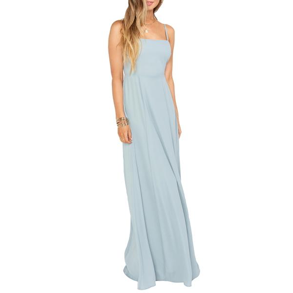 ウミーユアムーム レディース ワンピース トップス Lauren Tie Back Chiffon A-Line Gown Silver Sage