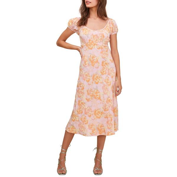 アストール レディース ワンピース トップス Caprice Floral Print Midi Dress Pink Papaya Floral
