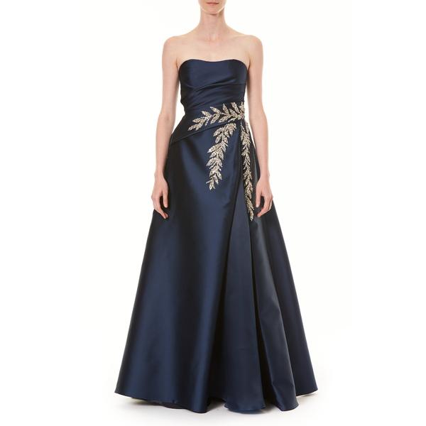 キャロライナヘレラ レディース ワンピース トップス Crystal Embellished Strapless Taffeta Ballgown Navy Multi