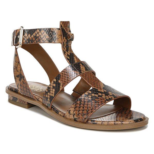 フランコサルト レディース サンダル シューズ Franco Sarto Moni T-Strap Sandal (Women) Brown Faux Leather