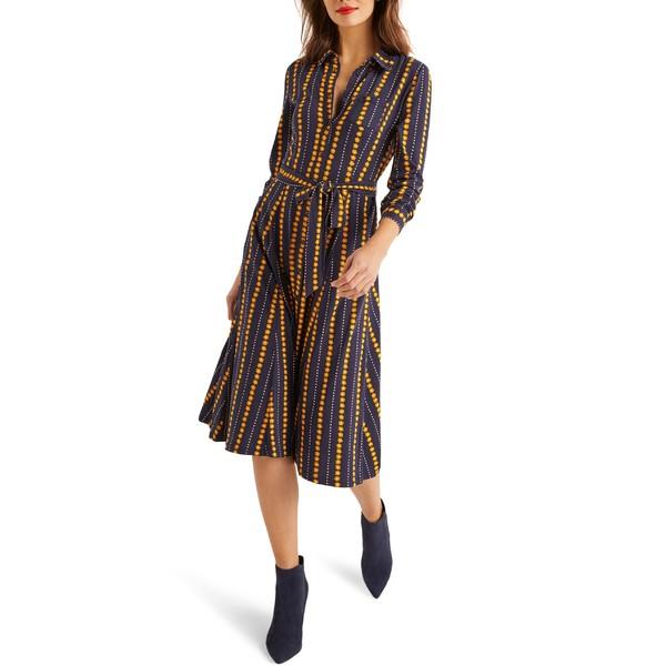 ボーデン レディース ワンピース トップス Boden Susannah Long Sleeve Jersey Shirtdress Navy Daisy Ribbon