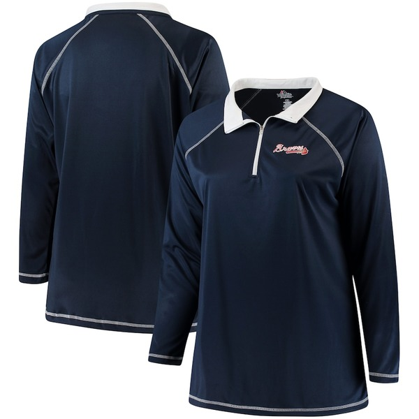 マジェスティック レディース ジャケット&ブルゾン アウター Atlanta Braves Majestic Women's Plus Size Quarter-Zip Pullover Jacket Navy