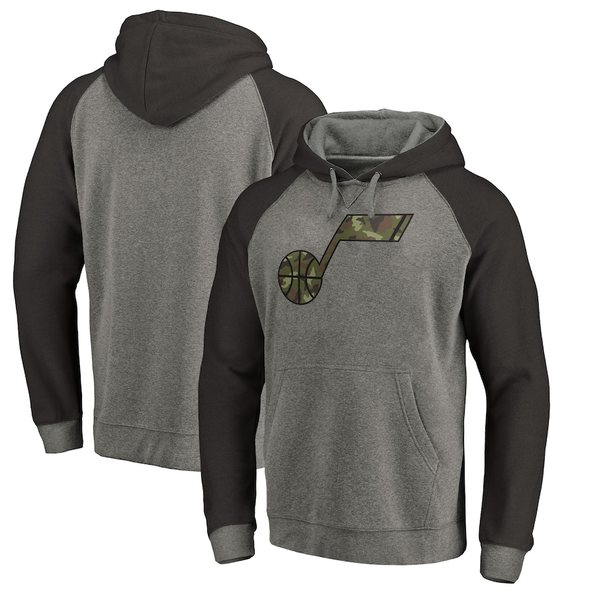 ファナティクス メンズ パーカー・スウェットシャツ アウター Utah Jazz Fanatics Branded Prestige Camo Tri-Blend Pullover Hoodie Heathered Gray