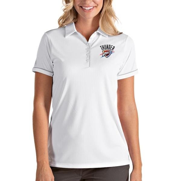 アンティグア レディース ポロシャツ トップス Oklahoma City Thunder Antigua Women's Salute Polo White/Silver