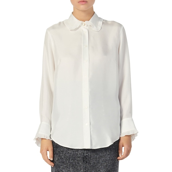 サンドロ レディース シャツ トップス Taina Ruffle Trim Long Sleeve Silk Blouse Ecru