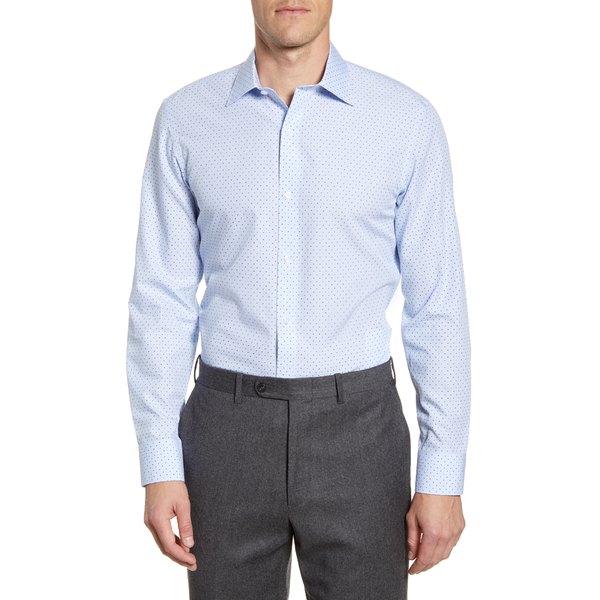 ボノボス メンズ シャツ トップス Trim Fit Dot Dress Shirt Cannes Blue