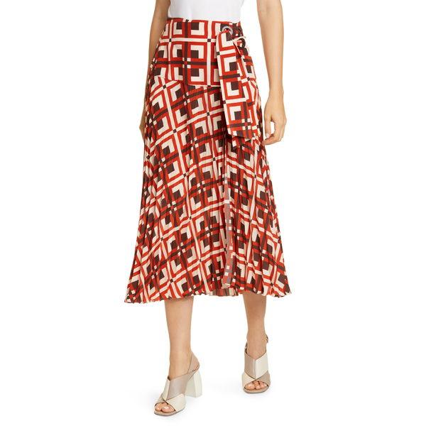 ジョハンナ・オーティズ レディース スカート ボトムス Lace-Up Cr麪e de Chine Midi Wrap Skirt Chocolate/ After Salsa Red