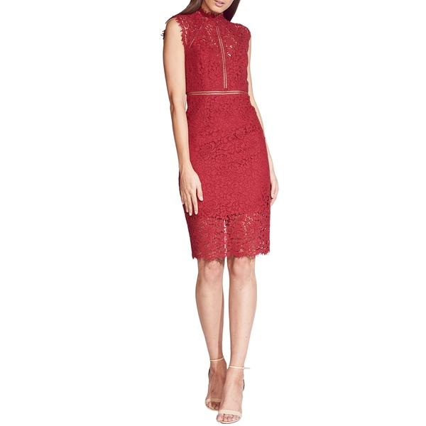 バードット レディース ワンピース トップス Lace Sheath Cocktail Dress Burgundy
