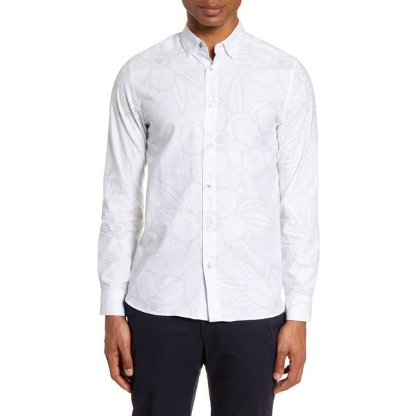 テッドベーカー メンズ シャツ トップス Gogirl Slim Fit Floral Button-Up Shirt White