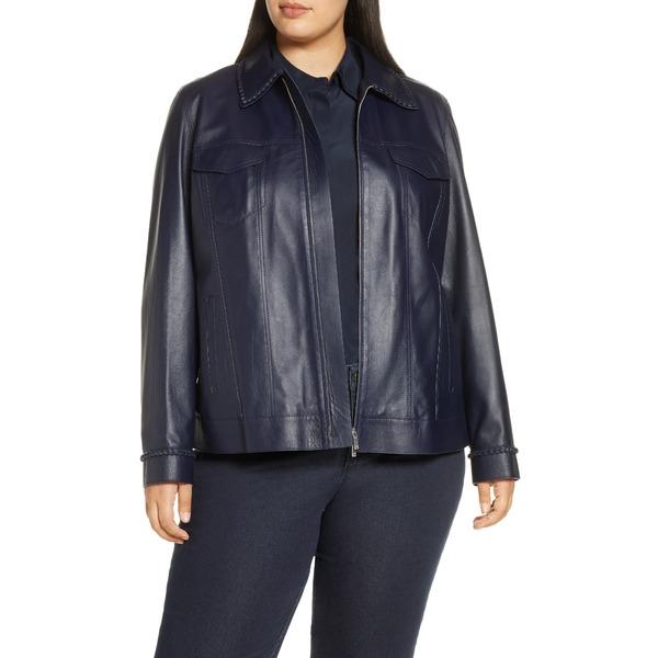 ラファイエットワンフォーエイト レディース ジャケット&ブルゾン アウター Destiny Braid Trim Leather Jacket Royal Blue