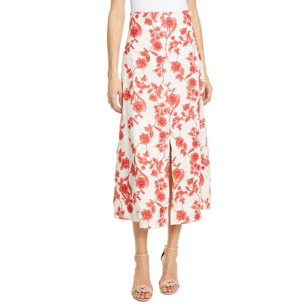 レベッカテイラー レディース スカート ボトムス Scarlet Embroidered Linen Midi Skirt Ivory/ Red Coral
