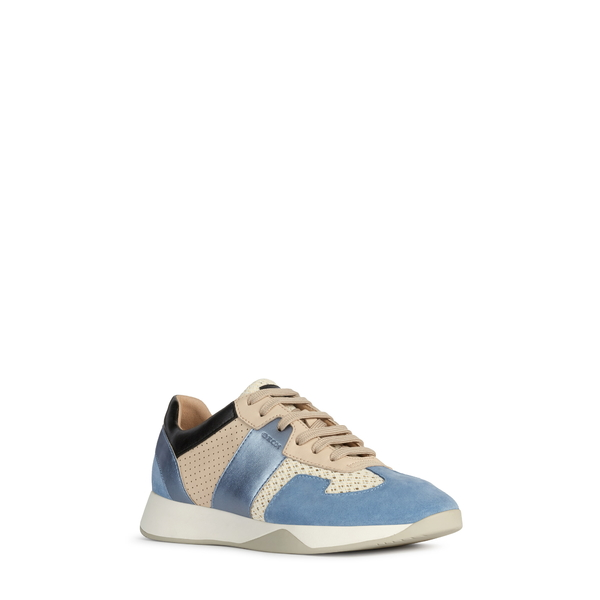 ジェオックス レディース スニーカー シューズ Suzzie Sneaker Off White/ Light Blue Suede