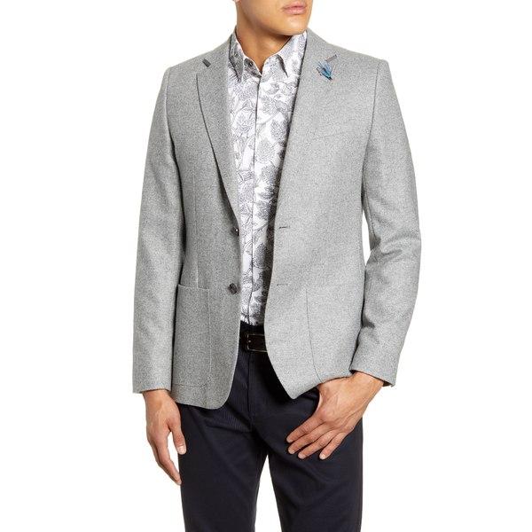 テッドベーカー メンズ ジャケット&ブルゾン アウター Athlead Slim Fit Herringbone Wool Blend Sport Coat Light Grey
