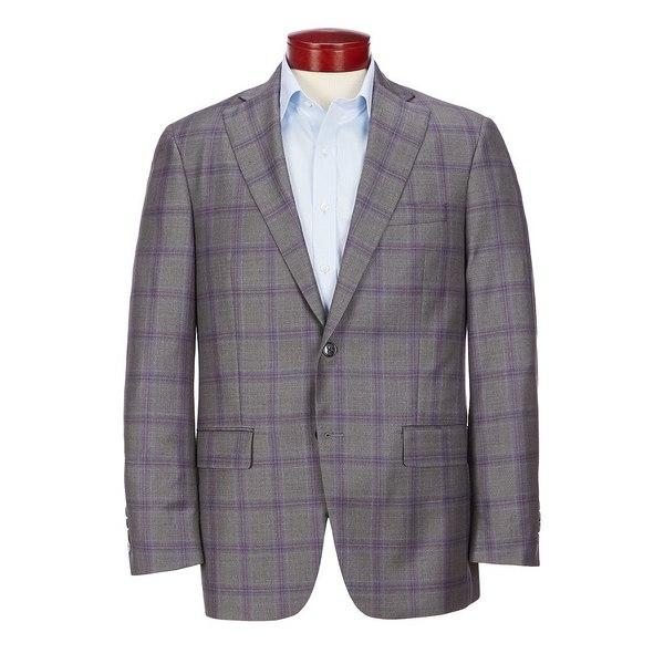 ハートシャファネールマークス メンズ ジャケット&ブルゾン アウター Classic Fit Purple Plaid Wool Sportcoat Grey