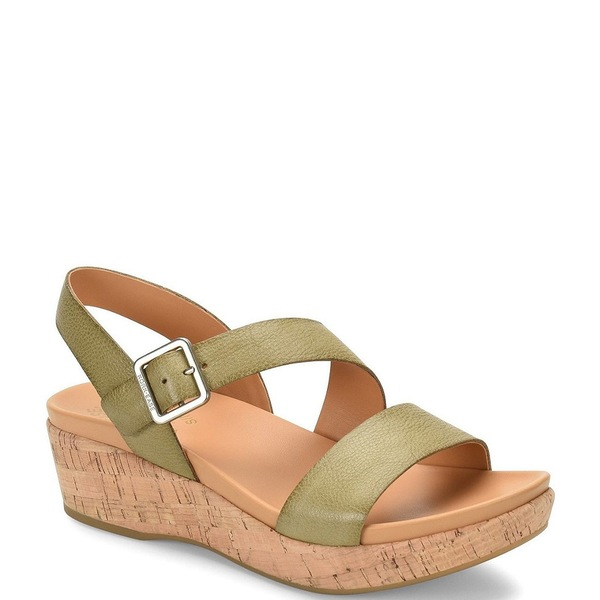 コークイース レディース サンダル シューズ Minihan Leather Cork Platform Wedge Sandals Light Green