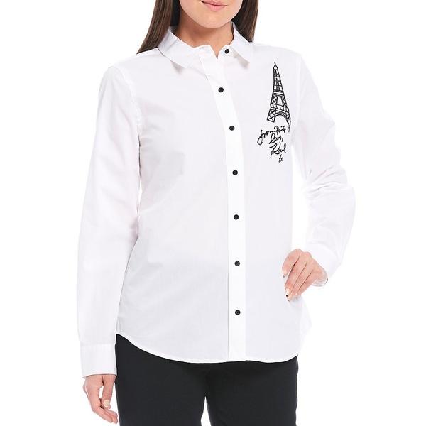 カールラガーフェルド レディース シャツ トップス Embroidered Eiffel Tower Button Front Shirt Soft White