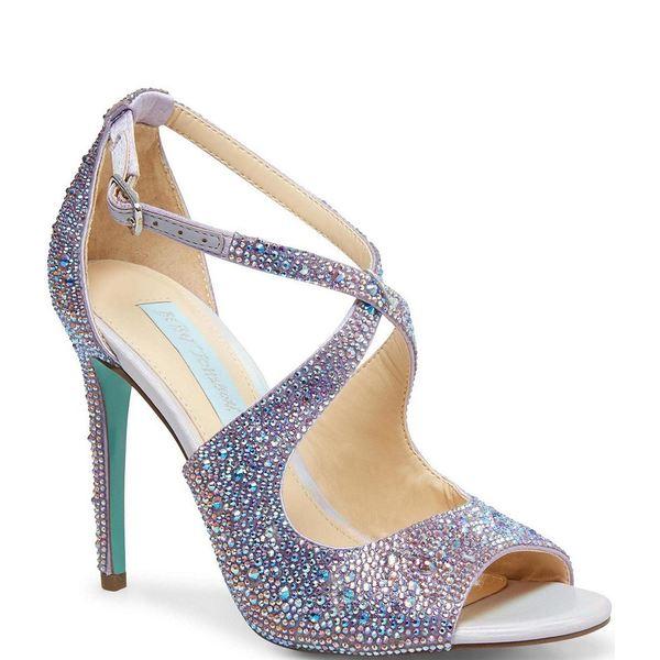 ベッツィジョンソン レディース サンダル シューズ Blue by Betsey Johnson Sage Rhinestone Jeweled Satin Peep Toe Dress Sandals Lilac