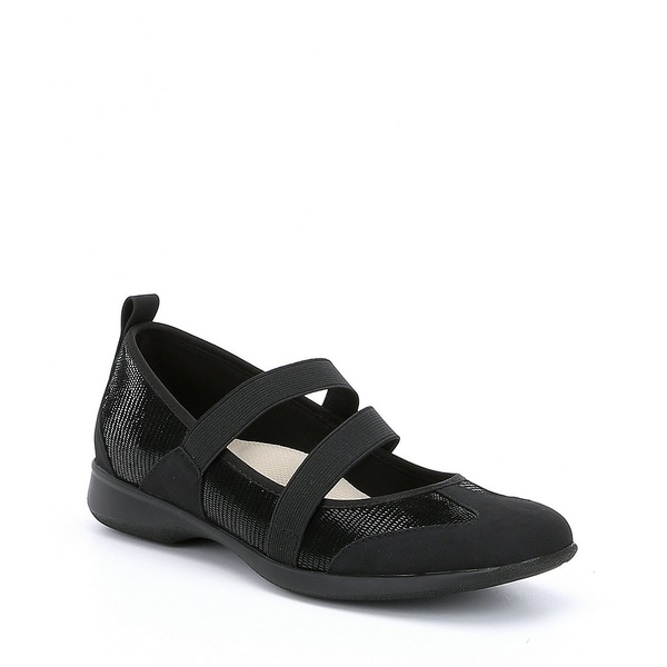 トロッターズ レディース スニーカー シューズ Josie Mary Jane Suede and Lizard Embossed Slip-On Shoes Black Lizard