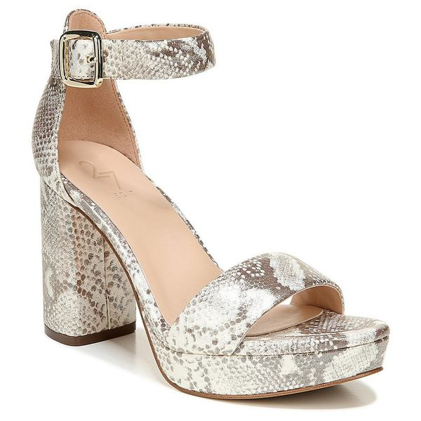27エディット レディース サンダル シューズ Briar Snake Print Leather Platform Block Heel Sandals White/Tan Snake