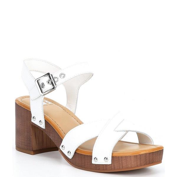 ジービー レディース サンダル シューズ Far-Out Leather Wood Heel Platform Sandals White