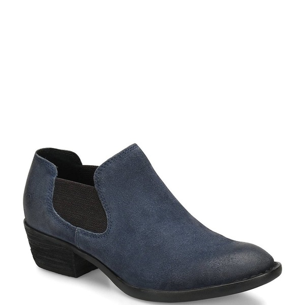 ボーン レディース ブーツ&レインブーツ シューズ Dallia Chelsea Distressed Suede Block Heel Shooties Navy