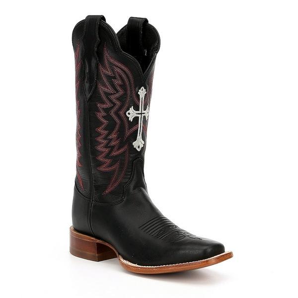 レバ レディース ブーツ&レインブーツ シューズ by Justin Silky Cross Embroidered Block Heel Western Boots Black