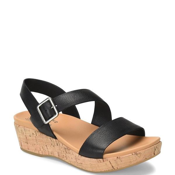 コークイース レディース サンダル シューズ Minihan Leather Cork Platform Wedge Sandals Black