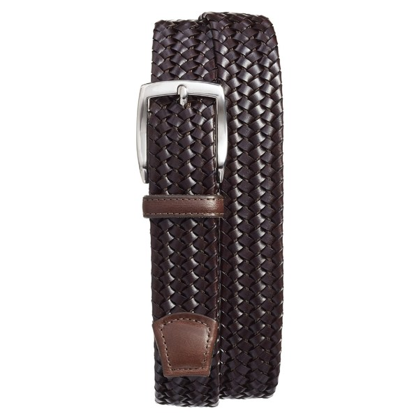 トリノ メンズ ベルト アクセサリー Torino Woven Leather Belt Brown