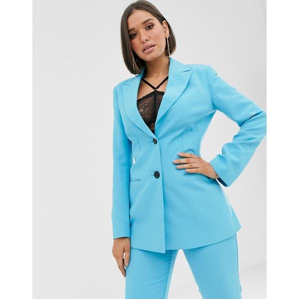 エイソス レディース ジャケット&ブルゾン アウター ASOS DESIGN pop waisted suit blazer Pop blue